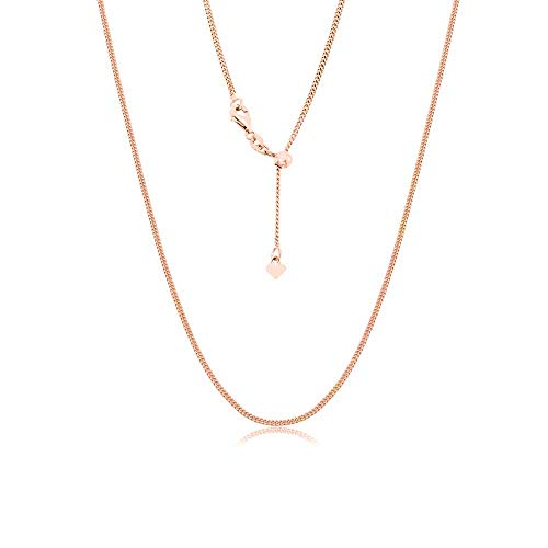 Sterling Silver Italian Adjustable Cuban Curb Bolo Necklace Chain for Women- Thin Adjustable Necklace in 4 Colors (Rose Gold)
