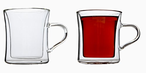 Lily's Home Double Wall Insulated Drinking Glasses For Tea, Glass Coffee Mugs, 10 Ounce, Set of 2