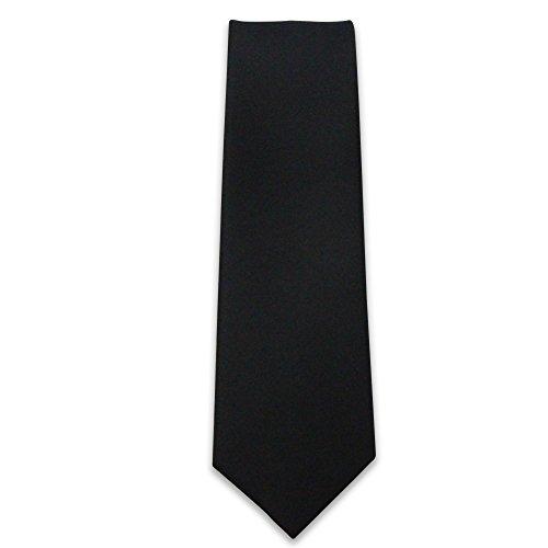 Cascadia Unlimited Men's Solid Black Matte 2' SKINNY Tie + White Pocket Square