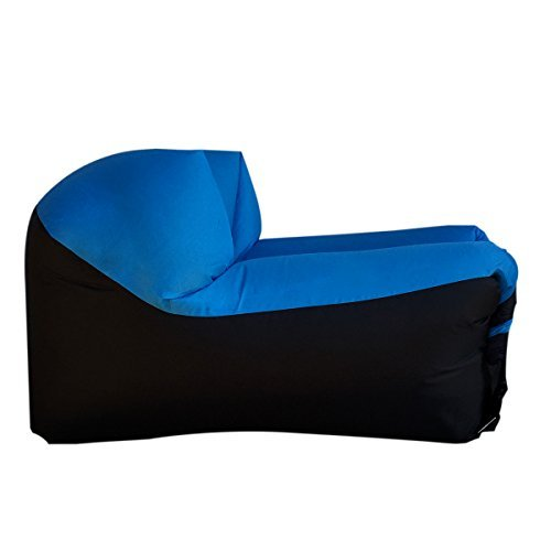 WooHoo 2.0 Giant Inflatable Lounger Chair with Carry Bag. Inflates in Seconds. Hangout as Lounge Chair, Bean Bag, Air Hammock, Sofa, Couch, Air Bag. NEW MODEL PATENT PENDING-Blue Chair