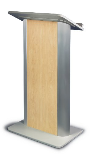 Hardrock Maple Contemporary Lectern with Satin Anodized Aluminum