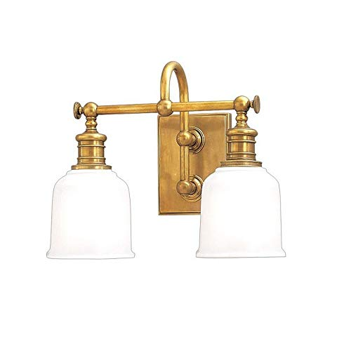 Hudson Valley Bath Sconce - Hudson Valley Lighting 1972-AGB Two Light Bath Bracket from The Keswick Collection, 2, Aged Brass