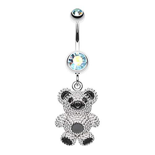 14 GA Adorable Teddy Bear Dangle Belly Button Ring (Davana Enterprises) (14GA Aqua/Aurora Borealis)