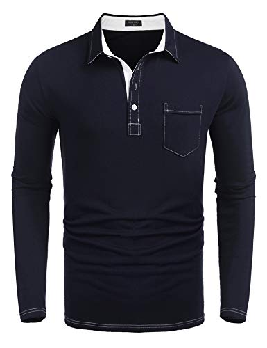 (COOFANDY Men's Long Sleeve Polo Shirt Slim Fit Casual Business Cotton T Shirt Navy Blue)