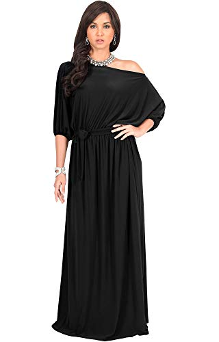 KOH KOH Womens Long Sexy One Off Shoulder Flowy Casual 3/4 Short Sleeve Cocktail Wedding Party Guest Maternity Gown Gowns Maxi Dress Dresses, Black L 12-14 ()