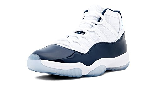 Jordan Nike Men's Air 11 Retro White/Navy/Blue 378037-123 (Size: - Air Jordan 11 Jams Space