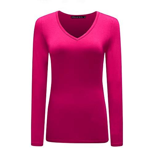 OThread & Co. Women's Long Sleeves V-Neck T-Shirt Plain Basic Spandex Tee (XX-Large, Hot Pink)