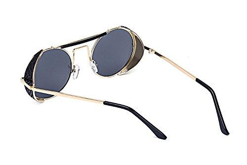 pour lunettes de Non Hellomiko Beam polarized Retro Vintage Gris Or Double soleil protectrices femmes UV400 hommes Sunglasses et qxYXzx