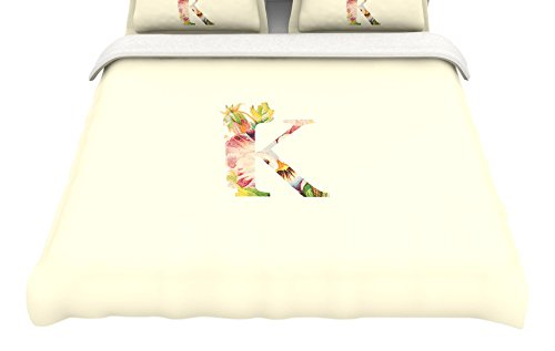 104 x 88 104 x 88 Kess InHouse Kess Original Floral Monogram King Cotton Duvet Cover