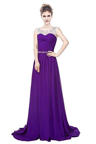 Rückenfrei Violett Kristall Sheer Frauen Ball A Line Gerüscht Kleid engerla Pailletten Chiffon Träger w1pHqFqx