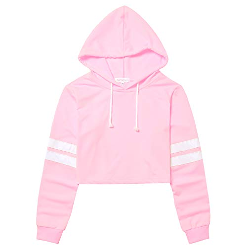 Perfashion Women's Cropped Hoodie Pullover Long Sleeve Loose Striped Crop Tops Pullover Sweatshirt, Pink, ()