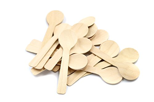 COOBL 3.9 Inches Mini Kitchen Wooden Ice Cream Dessert Spoons Disposable Wood Cutlery Tableware,Pack of 100 ()