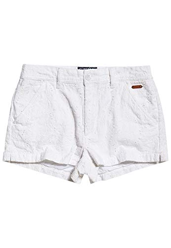 Superdry Shorts Damen Broderie Chino Short Optic White