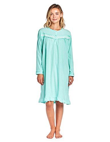 Casual Nights Women's Long Sleeve Printed Micro Fleece Nightgown - Green - ()