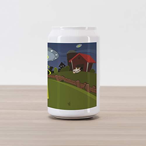 - Ambesonne Cartoon Cola Can Shape Piggy Bank, Farm Warehouse Grass Fences Cow Alien Abduction Funny Comics Image Artwork Print, Ceramic Cola Shaped Coin Box Money Bank for Cash Saving, Multicolor