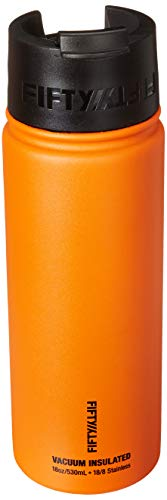 Fifty/Fifty 12oz, Double Wall Vacuum Insulated Café Water Bottle, Stainless Steel, Flip Cap w/ Wide Mouth, Solar Orange, 12oz/354ml