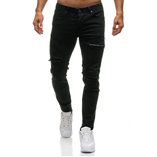 Elecenty In Uomo Con Cerniera Di Pantaloni Nero Jeans Da Denim Casual Elegante qOwqSF7