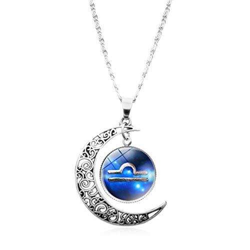 YUANOMSL Women Necklace,Time Gemstone,Beautiful Blue Libra Art Europe and America Necklace Crystal Pendant Time Gemstone Half Moon Necklace Handmade Jewelry Clavicle Chain