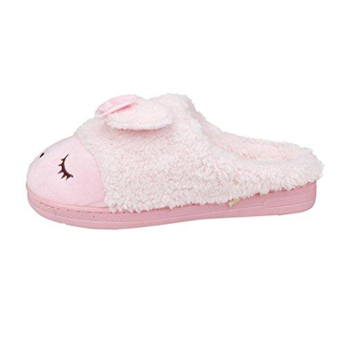 Winterlaarzen Voor Dames, Egmy Zachte Warme Indoor Strik Katoenen Slippers Antislip Schoenen Roze Thuis