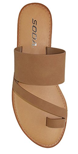 SODA Shoes Women Flip Flops Flat Summer Basic Sandals Thongs Toe Ring Joan (10 M US, Tan)