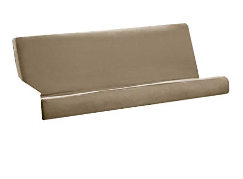Royal Sleep Products Futon Cover with 3 Sided Zipper - Factory Direct - Full or Queen - Solid Colors - Premium Cotton/Polyester Blend - Futon Mattress Cover (Khaki, Full (Fits 8