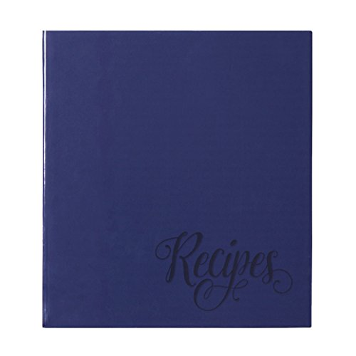 C.R. Gibson Blue Provence Family 3 Ring Recipe Book With Tabbed Dividers and Sheet Protectors, 8.94'' W x 9.38'' H ()