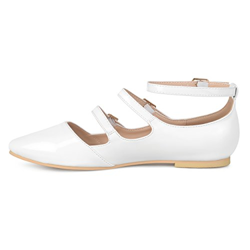 Brinley Buckle Strappy Faux Womens Patent White Co Flats qxq1w46