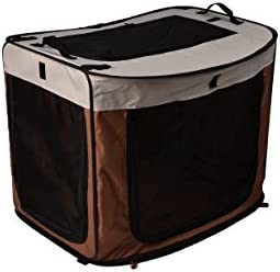 long rich Portable Foldable Dog Cat Kennel, 27 x 18.8 x 20 21.6 x 17.7 x 1.95 , Brown,by Happycare Textiles