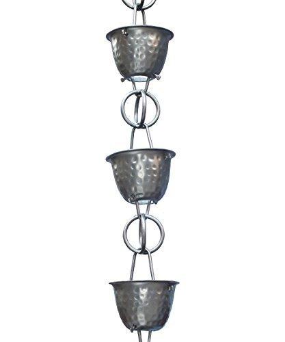 Monarch Rainchain Aluminum Hammered Cup Rain Chain Dark Bronze with Triangular Gutter Clip, 8.5' by Monarch by Monarch
