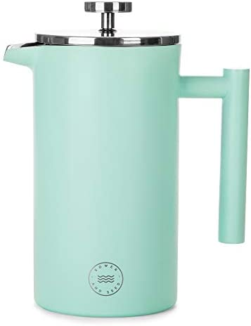 French Press Coffee Maker and Carafe, Large Vacuum Insulated Stainless Steel, 34 oz – Double Wall Thermal Pot with Mesh Filter Plunger – Stylish Portable Coffee Pots for Home, Office, Camping
