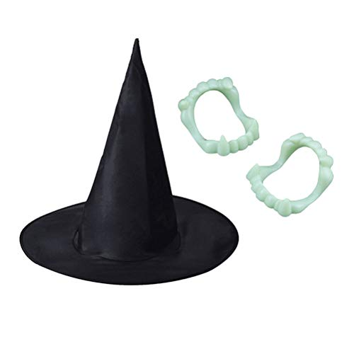 AMOSFUN Halloween Witch Hat Luminous Dentures Halloween Cosplay Costume Cosplay Accessories for Halloween Cosplay Party Stage Show Props Photo Props(1PC Hat and 12PCS Luminous Dentures)
