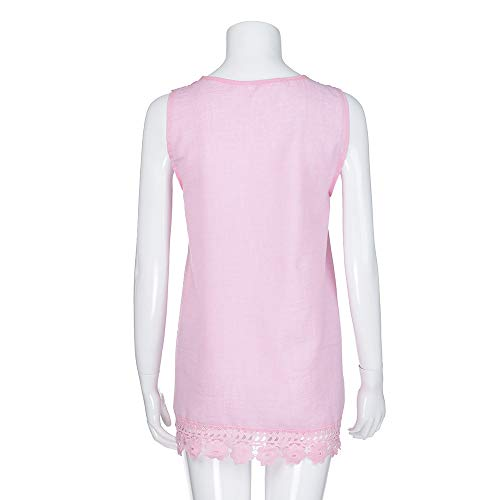 iYBUIA Women O-Neck Sleeveless Pure Color Lace Plus Size Vest Loose T-Shirt Blouse with Hollow Hem Pink by iYBUIA (Image #4)