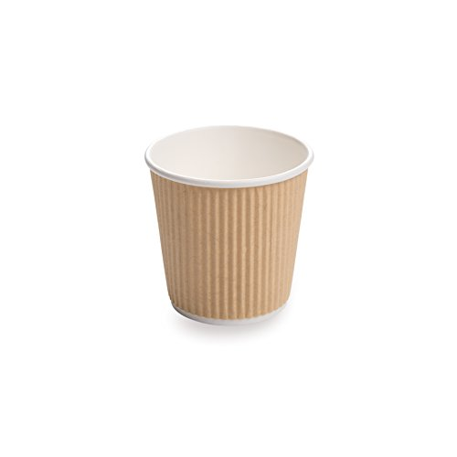 - 25-CT Disposable Kraft 4-OZ Hot Beverage Cups with Ripple Wall Design: No Need for Sleeves – Perfect for Cafes or Home Use – Eco-Friendly Recyclable Paper – Insulated – Wholesale Takeout Coffee Cup