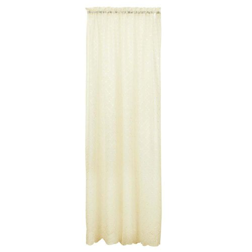 - Renaissance Mystic Eyelet Embroidery On 53-Inch by 63-Inch Crushed Voile Panel, Ivory