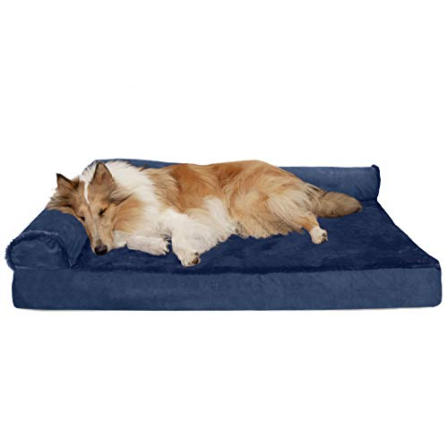 (Furhaven Pet Dog Bed | Deluxe Cooling Gel Memory Foam Orthopedic Plush & Velvet L Shaped Corner Chaise Lounge Sofa-Style Living Room Couch Pet Bed for Dogs & Cats, Deep Sapphire, Jumbo)