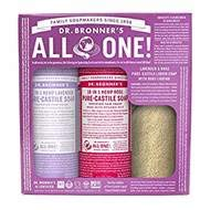 Dr. Bronner's Liquid Castile Gift Set with Loofah (Lavender and Rose)