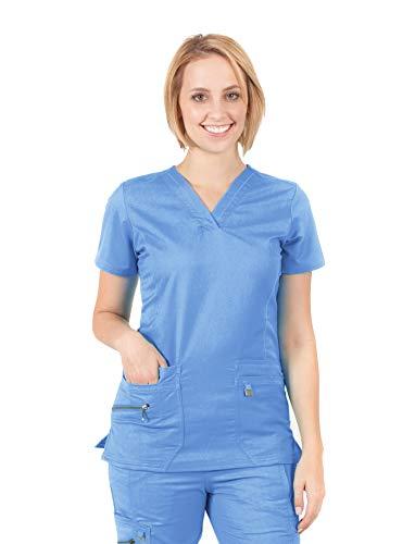 LifeThreads Ergo Women's Modern Fit 6 Pocket Fashion V-Neck Top (X-Small, Ceil Blue)