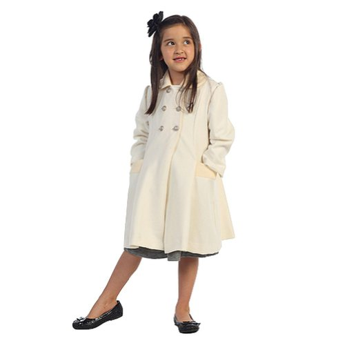 Blend Jacket Wool Ivory (Angels Garment Toddler Girls Ivory Double Breasted Wool Coat 4T)