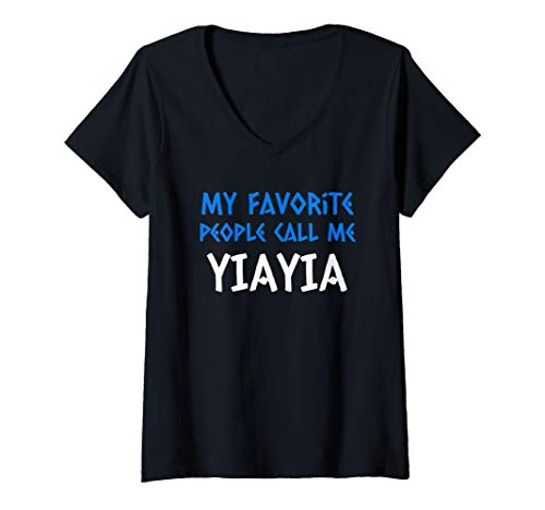 Womens  Greek Letter Font Greek Grandma Yiayia Gift  V-Neck T-Shirt