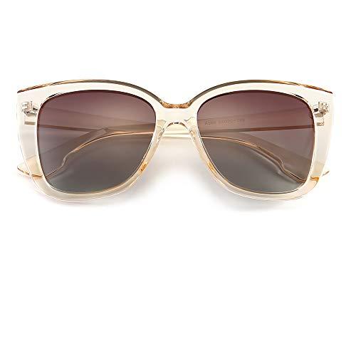 SUNGAIT Retro Classic Butterfly Sunglasses for Women Vintage Fashion Style (Transparent Brown Frame/Brown Gradient Lens) A568TMCKC (Newest Sunglasses Women For)