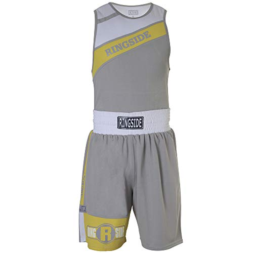 (Ringside Youth Elite #3 Outfit , Grey/Gold, Small)