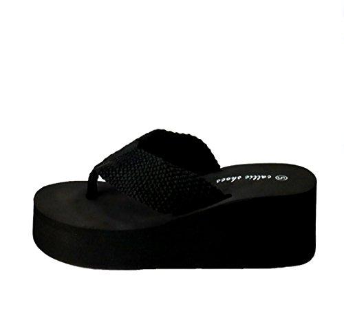 Callie Femmes Écrasement Sangle Supérieure Plate-forme Thong Flip Flop Pantoufle Noir