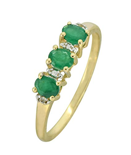 YoTreasure 0.45 Ct. Green Emerald Solid 10K Yellow Gold Eternity Band Ring