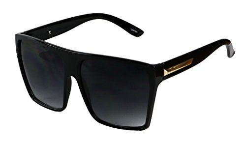 Basik Eyewear - Big XL Large Square Trapezoid Shape Oversized Fashion Sunglasses (Glossy Black w/ Gold, Gradient (Big Designer Sunglasses)
