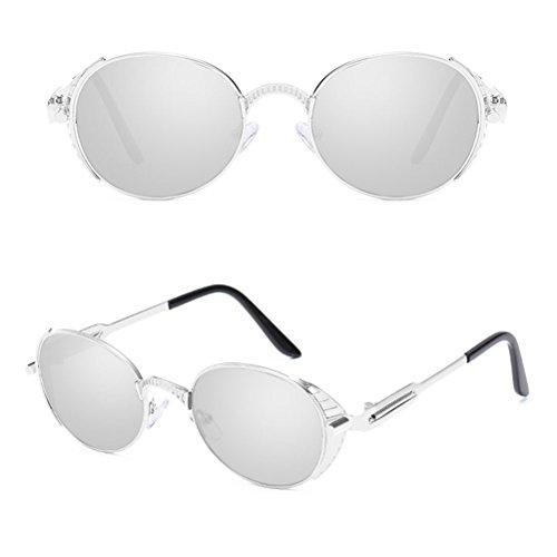 Femme Vue Homme Metal Lunettes Silver lunettes Glasses Sunglasses Spring de Zhhlaixing pour et de Retro Protection Soleil UV400 amp;White Personality ZwnqTS