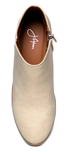 J Stacked Adams Closed Low Pu Bootie Beige Golden Western Heel Casual Lexy Ankle Toe Boot XdXxrqHS