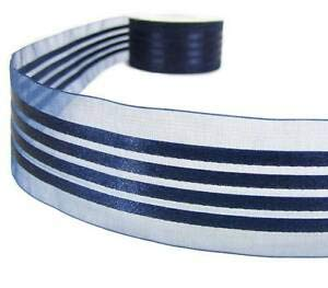 5 Yds Dark Navy Blue Striped Satin Sheer Ribbon 1 1/2