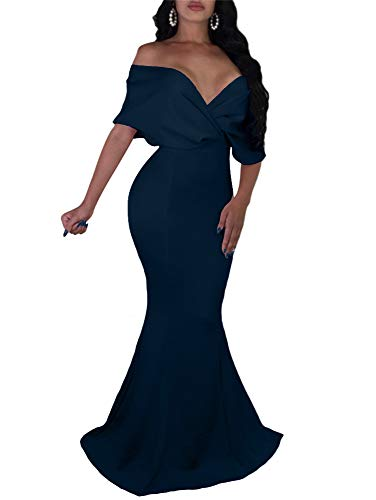 GOBLES Women Sexy V Neck Off The Shoulder Evening Gown Fishtail Maxi Dress Navy