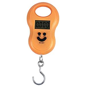 Meich Digital Crane Scale Luggage Weight Scale Steelyard 110lb /50kg for Suitcase Mini Portable Travel Hanging Hook Scale Backlit LCD Display for Home Farm Factory Hunting Outdoor C41 Orange