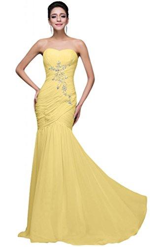 sunvary gasa Rhinestone Back Lace Up plisada volantes dama de honor vestidos de Daffodil
